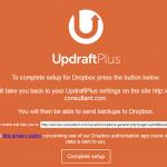 4:「UpdraftPlus」の画面。「Complete-setup」をクリック。